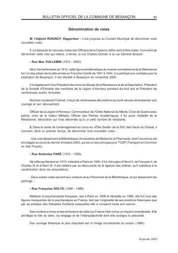 16/01/2003 - Deliberations Besancon - Denomination ... - Besançon