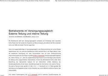 Betriebsrente im Versorgungsausgleich: Externe Teilung und ...