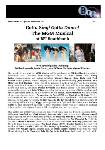 Gotta Sing! Gotta Dance! The MGM Musical - British Film Institute
