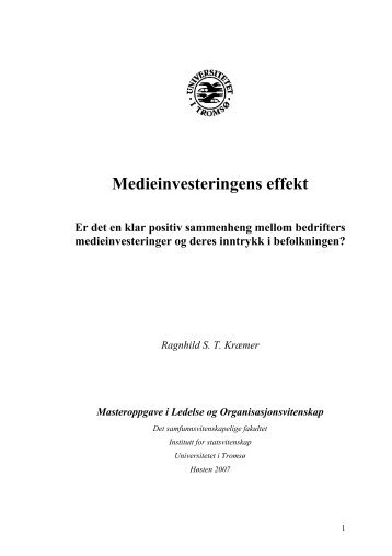 Medieinvesteringens effekt - BI Norwegian Business School