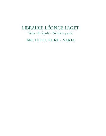 LIBRAIRIE LÉONCE LAGET - Bibliorare