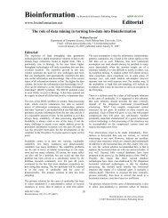 Editorial - Bioinformation