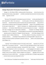 Deltagen Reports 2012 Third Quarter Financial Results - BioPortfolio
