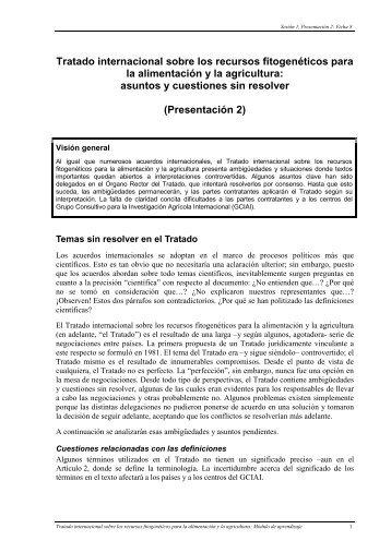 Tratado internacional sobre los recursos fitogenéticos para la ...