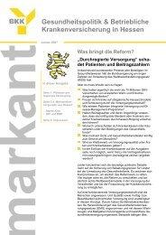 Gesundheitspolitik & Betriebliche Krankenversicherung in Hessen