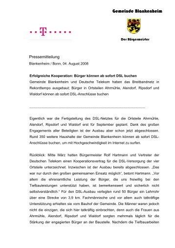 DSL früher als geplant verfügbar - Blankenheim