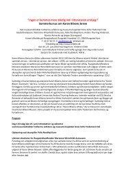 Program sommerkursus 2013 Blixens breve - Karen Blixen Museet