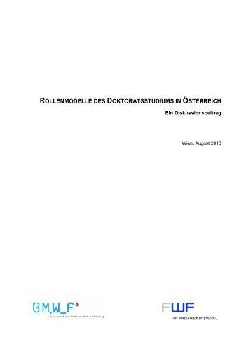 ROLLENMODELLE DES DELLE DES DOKTORATSSTUDIUMS IN ...