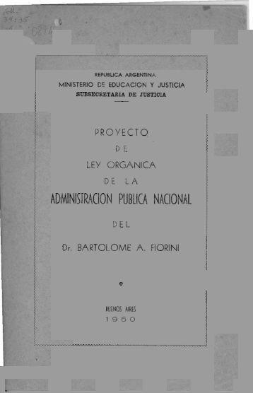 Proyecto de Ley orgánica de la Administración Pública Nacional
