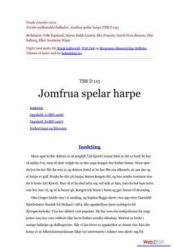 Jomfrua spelar harpe (TSB D 115) - Bokselskap.no