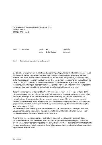 Optimalisatie capaciteit operatiekamers - College bouw ...