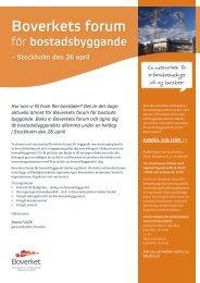 Program för Boverkets forum för bostadsbyggande