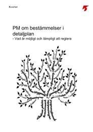 PM om bestämmelser i detaljplaner, Boverket 2008