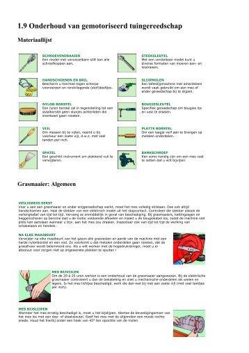 1.9 Onderhoud van gemotoriseerd tuingereedschap - Brico