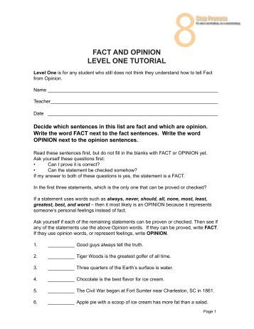 Fact or Opinion Worksheet