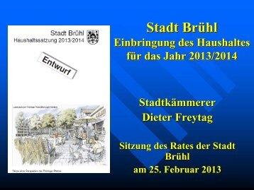 Folien zur Etatrede Kämmerer Dieter Freytag zum ... - Stadt Brühl