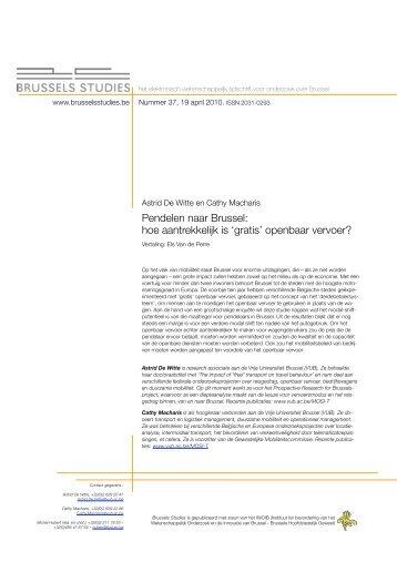 Astrid De Witte en Cathy Macharis Pendelen naar - Brussels Studies
