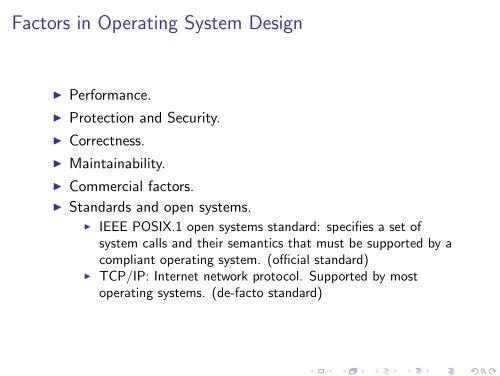 Factors In Operating System Design