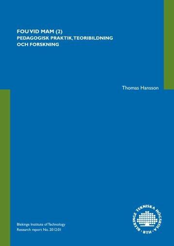 Rapport 2012 01.pdf - Blekinge Tekniska Högskola