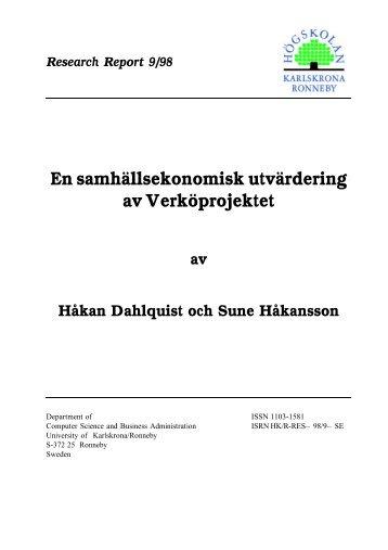 Research Report 9-98.pdf - Blekinge Tekniska Högskola