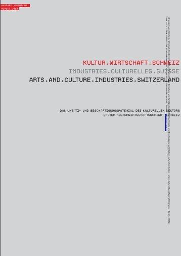 Erster Kulturwirtschaftsbericht CH; HGKZ 2003 - Buchlobby Schweiz