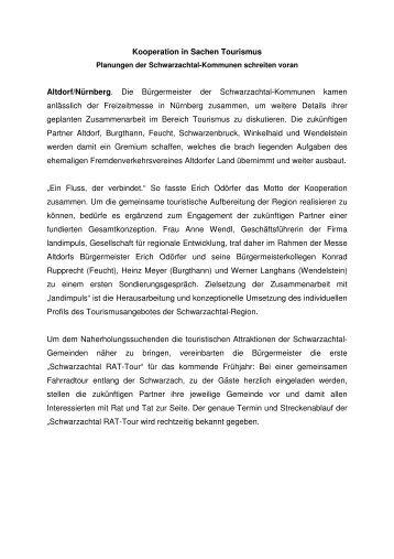 Kooperation in Sachen Tourismus - Gemeinde Burgthann