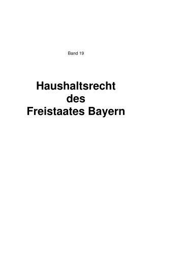 Haushaltsrecht des Freistaates Bayern - Bayerische ...