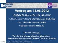 Vortrag am 14.06.2012 - Universität Würzburg