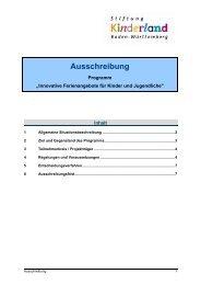 Ausschreibung - Baden-Württemberg Stiftung