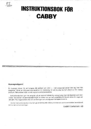Instruktionsbok Cabby 1983 - Cabby Caravan AB