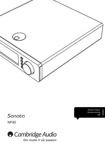 AP256501 CA Sonata NP30 User's Manual - 07 ... - Cambridge Audio