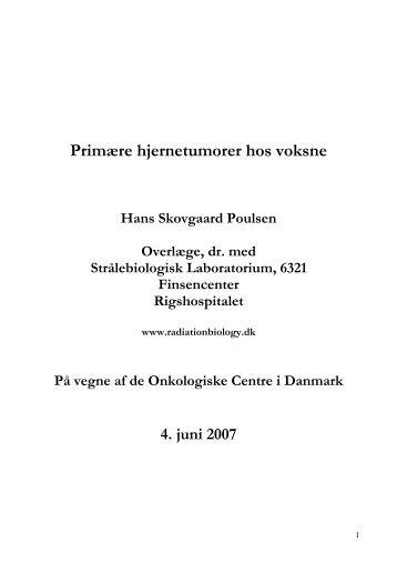 Primære hjernetumorer hos Voksne af Hans Skovgaard Poulsen ...