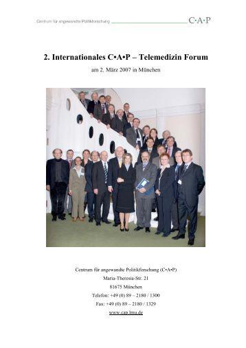 2. Internationales C•A•P – Telemedizin Forum - Centrum für ...