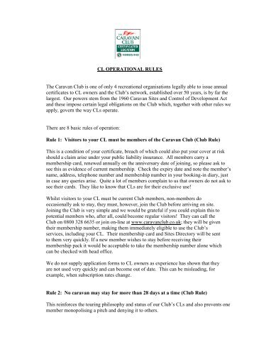 CL OPERATIONAL RULES The Caravan Club is one of only 4 ...
