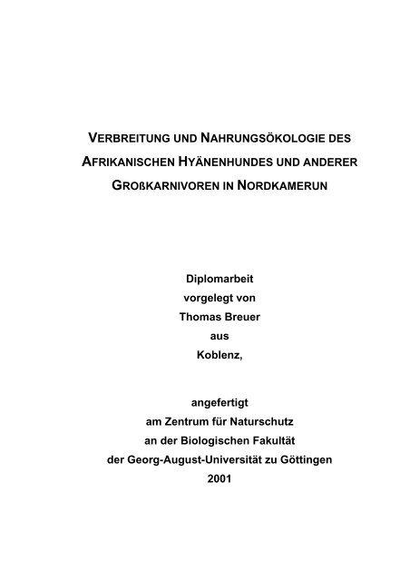 Verbreitung und Nahrungsökologie des Afrikanischen ...