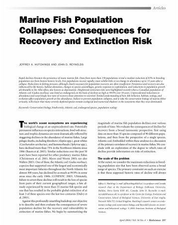 Marine Fish Population Collapses: Consequences for Recovery and ...