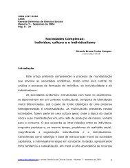 Sociedades Complexas: indivíduo, cultura e o individualismo - CCHLA