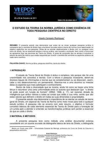 o estudo da teoria da norma jurídica como essência de ... - Cesumar