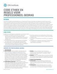 code ethiek en regels voor professioneel gedrag - CFA Institute