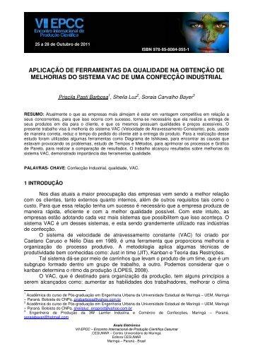 APLICAÇÃO DE FERRAMENTAS DA QUALIDADE NA ... - Cesumar