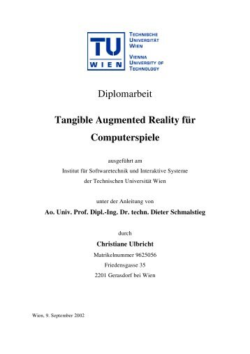 Diplomarbeit Tangible Augmented Reality für Computerspiele