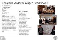Den goda vårdavdelningen, workshop 1 - Chalmers tekniska högskola