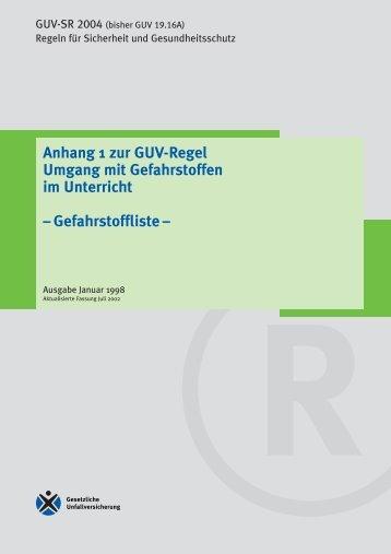 GUV-SR 2004 - Chemie und ihre Didaktik, Universität Wuppertal
