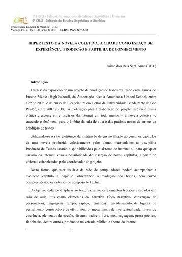 hipertexto ea novela coletiva: a cidade como espaço de ... - Cielli