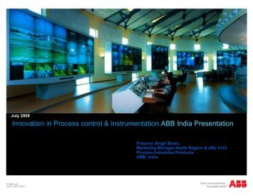 Innovation in Process Control & Instrumentation Mr Prasoon Bisen ...