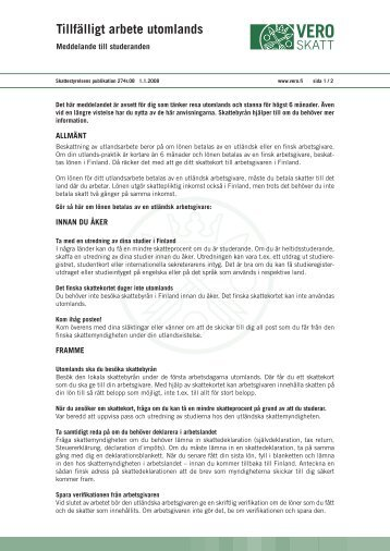 Tillfälligt arbete utomlands (pdf) - Cimo
