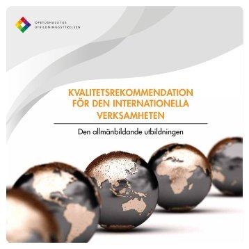 Kvalitetsrekommendation för den internationella verksamheten - Cimo
