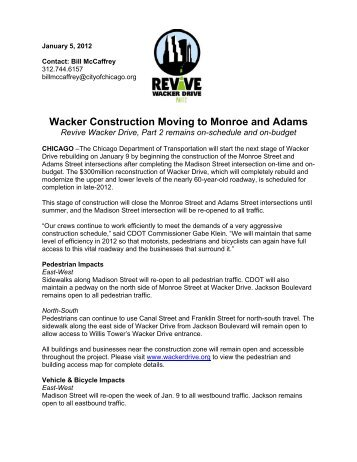 Wacker Construction Moving to Monroe and Adams - City of Chicago