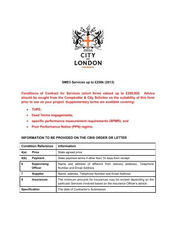 SME3 Services - the City of London Corporation
