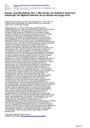 Kampf- und Wandertag: Der 1. Mai wurde von Arbeitern ... - CL-Netz